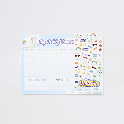 Girls blue unicorn weekly planner