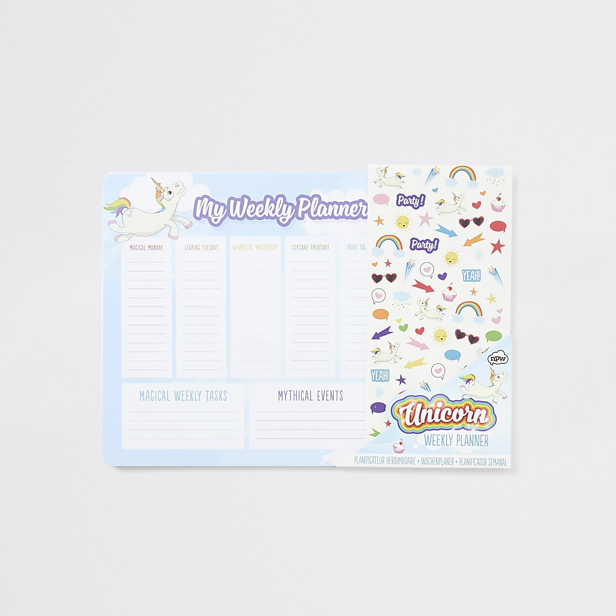Girls blue unicorn weekly planner