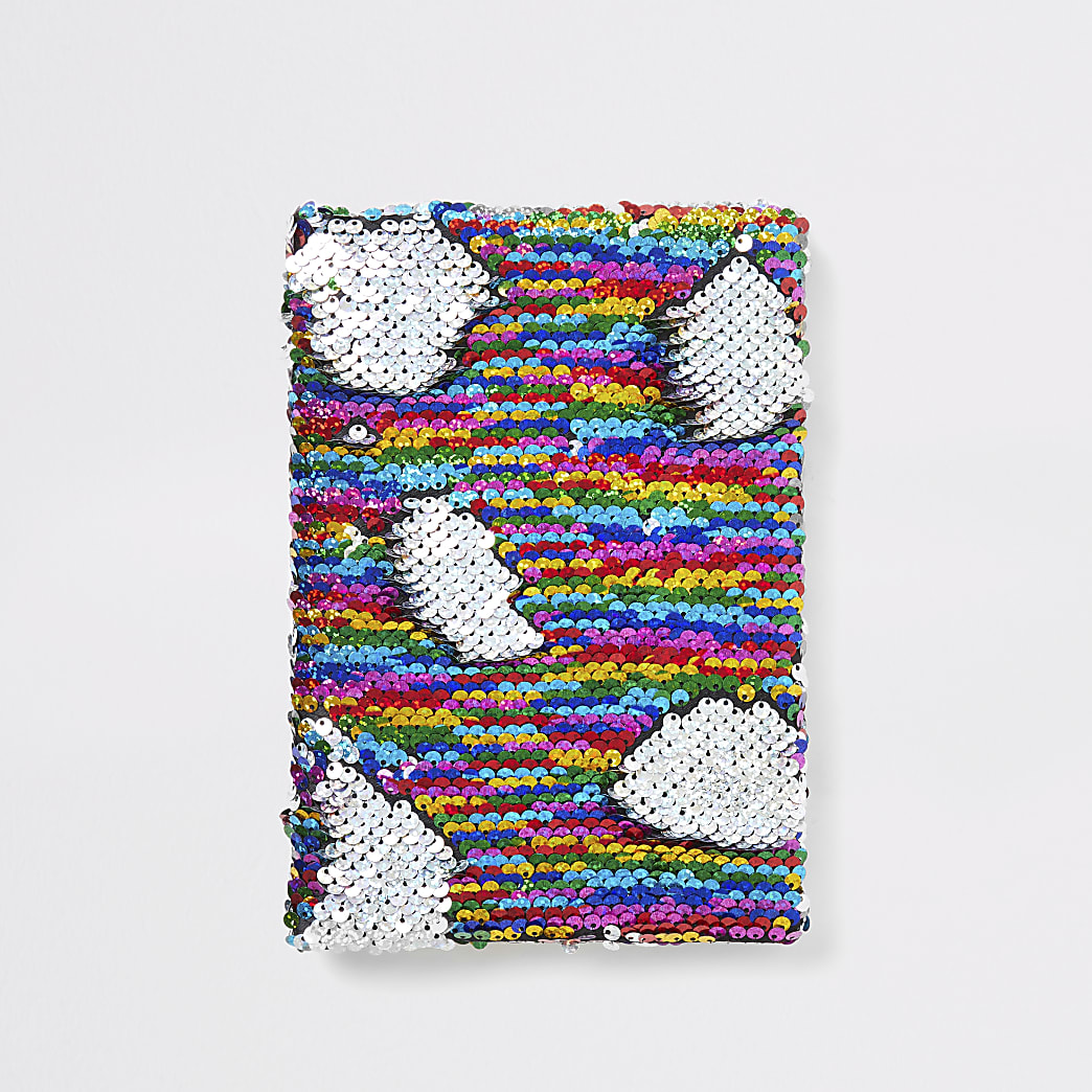 Girls silver sequin unicorn notebook