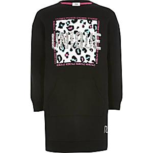 Zwarte sweaterjurk met 'Unique'-tekst voor meisjes