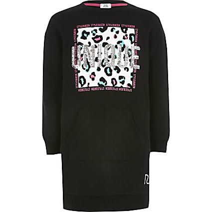 Girls black 'Unique' sweatshirt dress