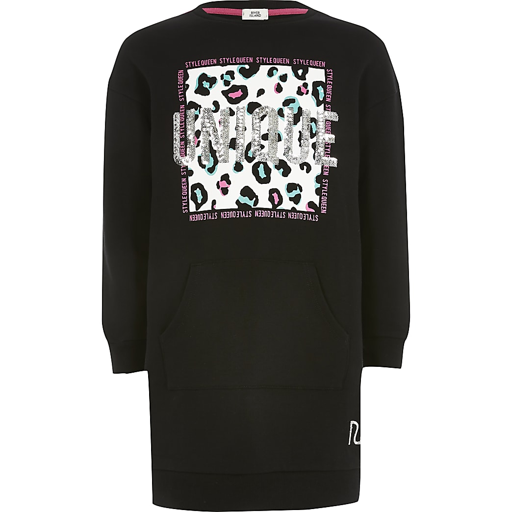 Girls black 'Unique' sweatshirt dress