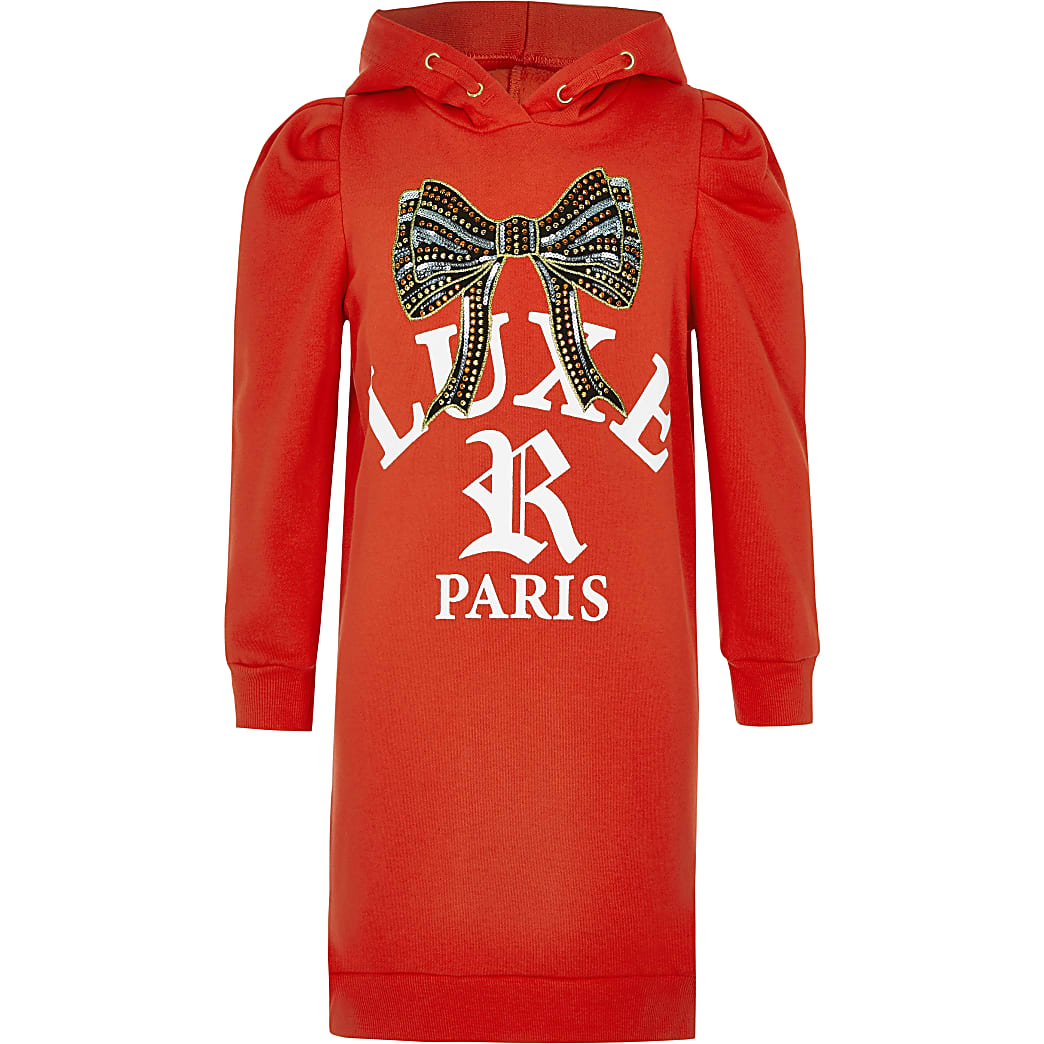 Girls red embellished bow sweatshirt dress