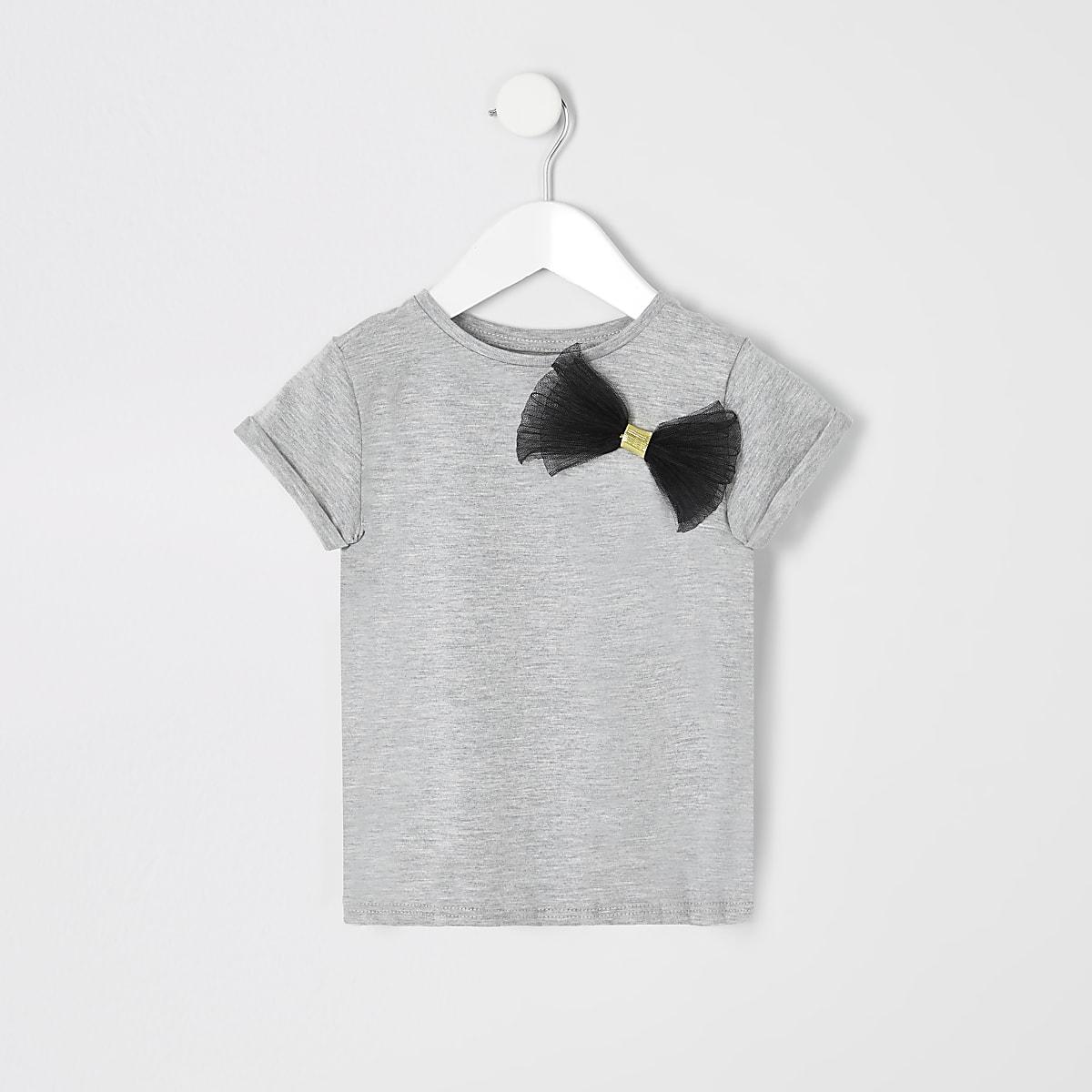 Mini girls grey mesh bow T-shirt
