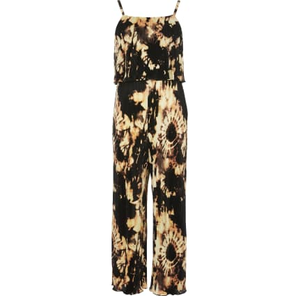 Girls black tie dye plisse jumpsuit