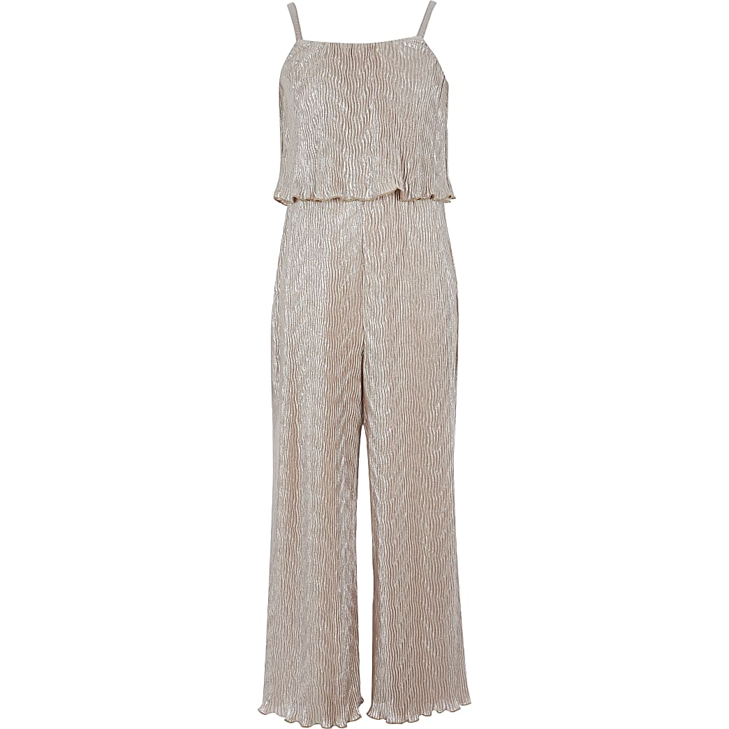 Girls gold metallic plisse jumpsuit