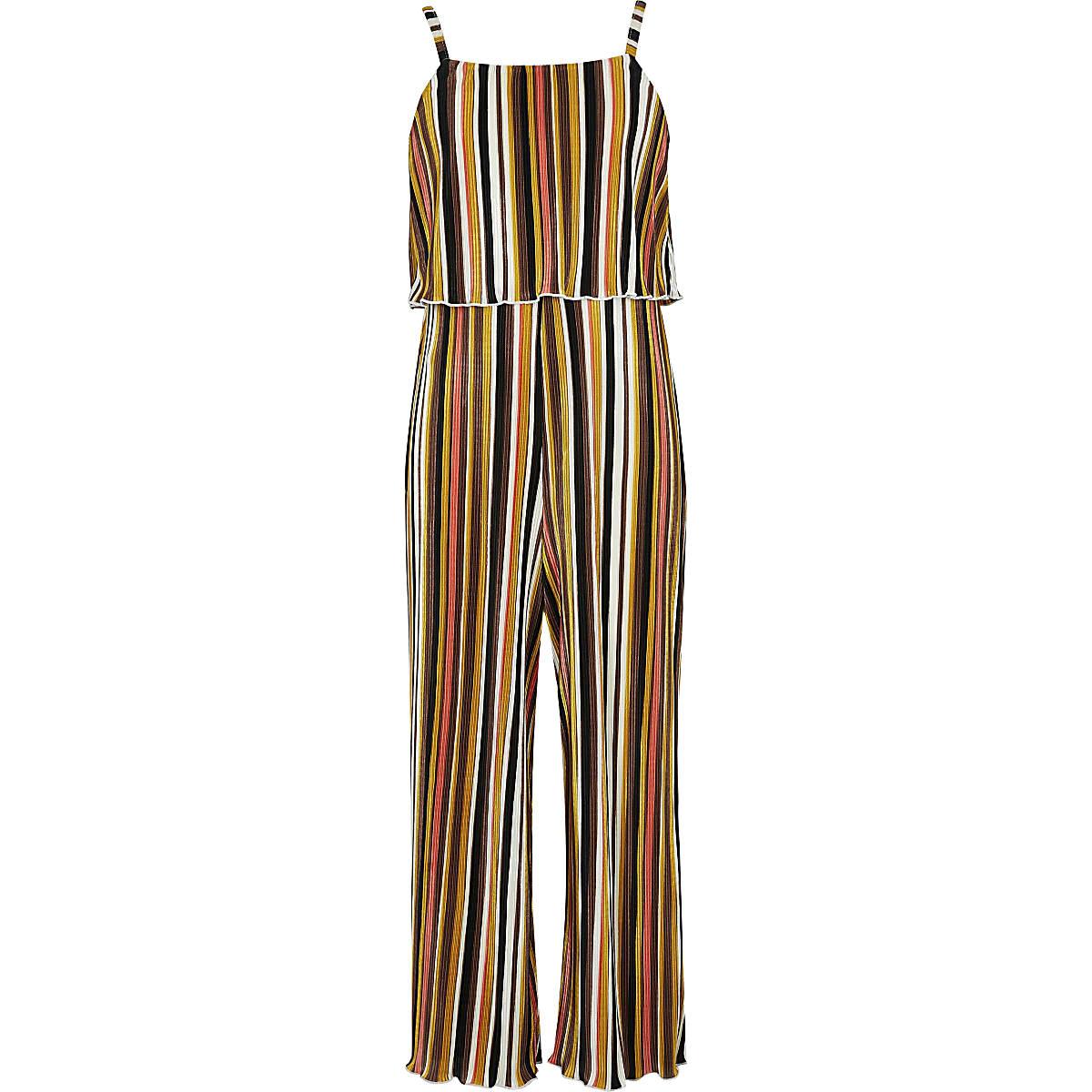 Girls yellow stripe plisse jumpsuit