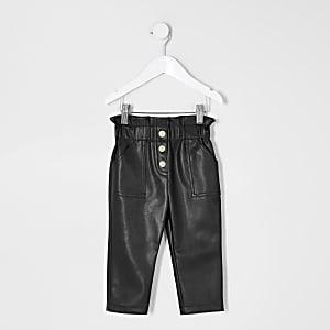 Mini – Schwarze Hosen aus Kunstleder für Mädchen