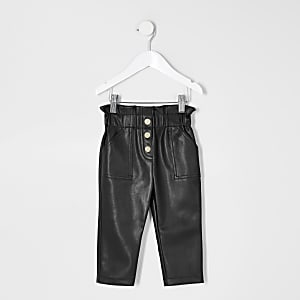 Pantalons en cuir synthétique noir Mini fille