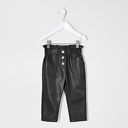 Mini girls black faux leather trousers