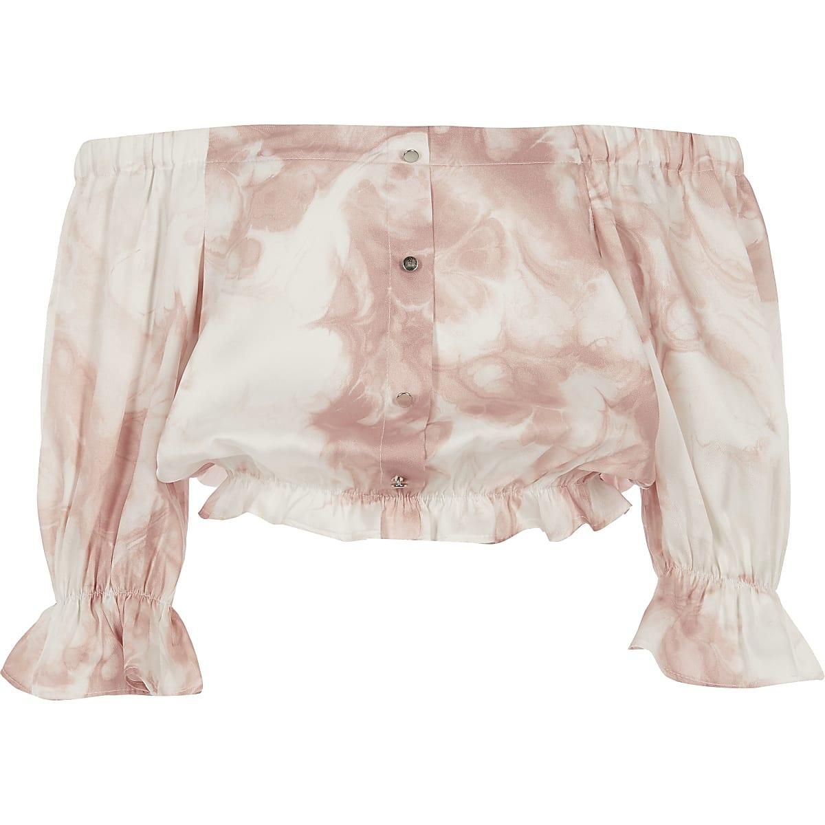 Roze bardottop met print voor meisjes