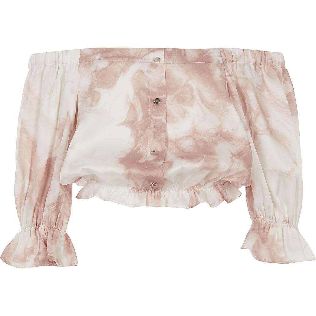 Girls pink printed bardot top