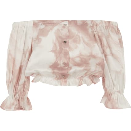 Girls pink printed bardot top