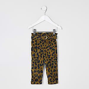 Mini - Bruine geplooide broek met luipaardprint voor meisjes