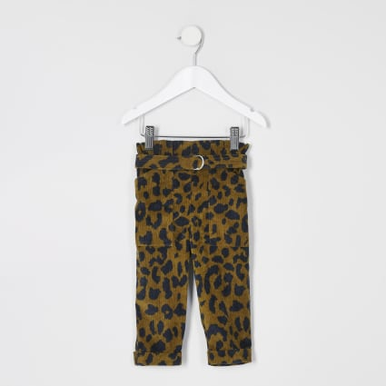 Mini girls brown leopard paperbag trousers