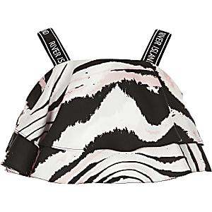 Gerüschtes Crop Top in Rosa mit Zebra-Muster für Mädchen