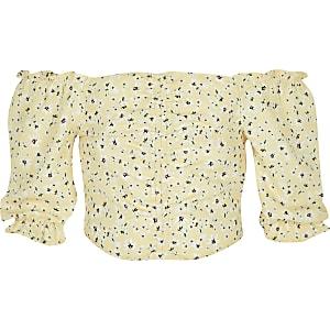 Gele bardattop met fijne print voor meisjes