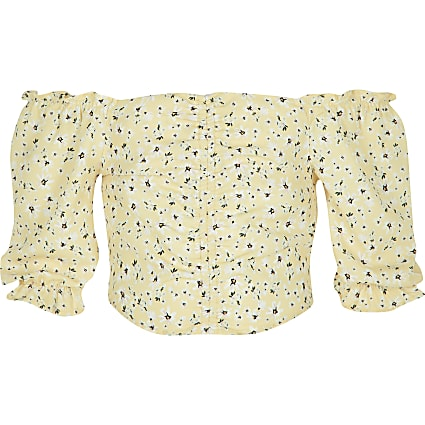 Girls yellow ditsy print bardot top