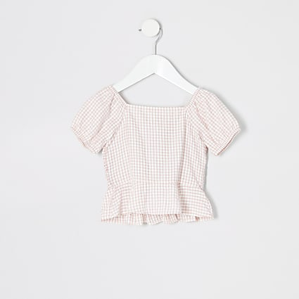 Mini girls pink gingham print shirred top