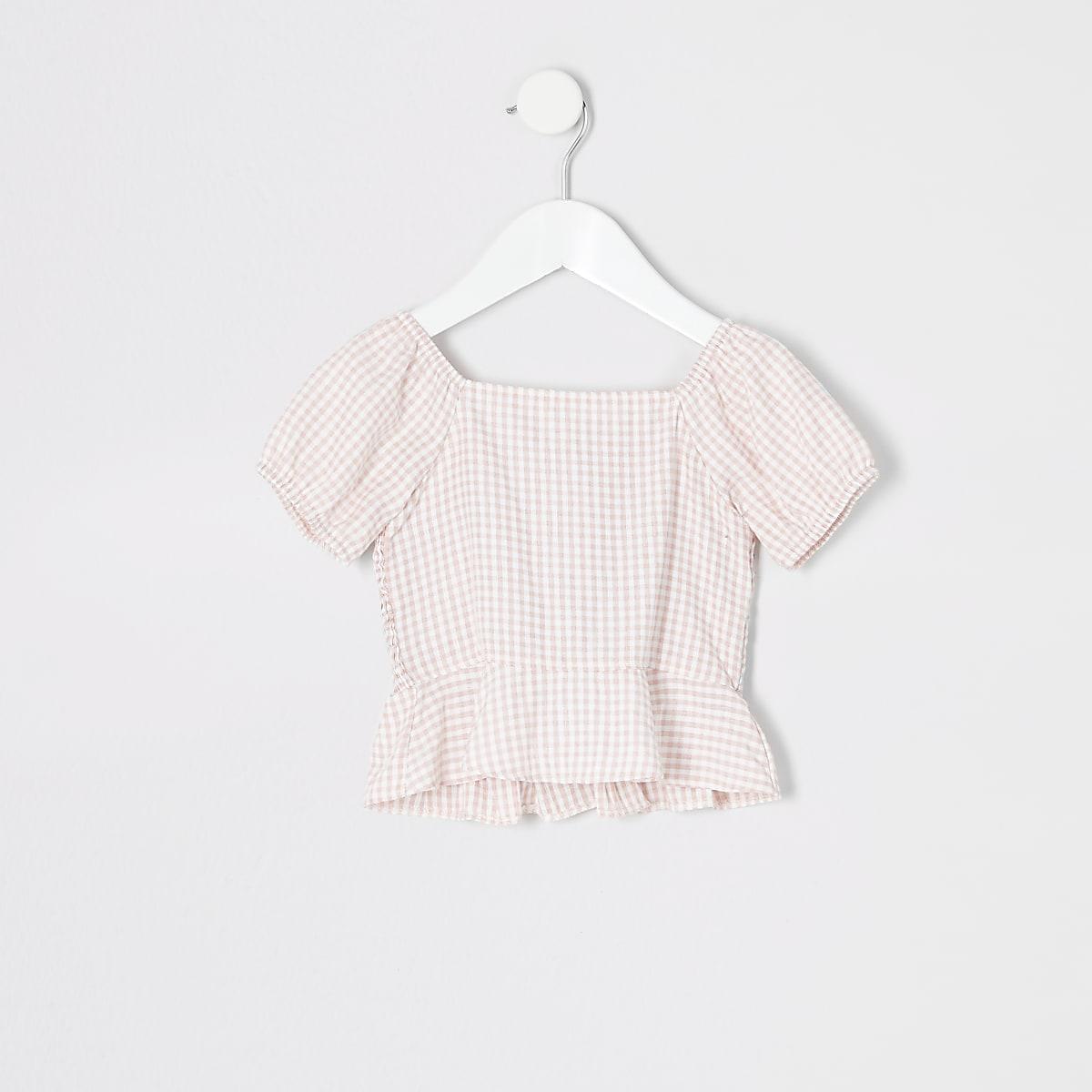 Mini - Roze gesmokte top met gingham-ruit voor meisjes
