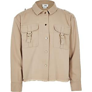 Veste-chemise utilitaire marron clair pour fille