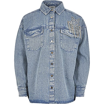 Girls blue star embellished denim shirt