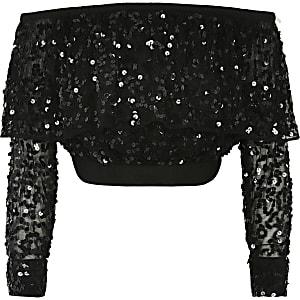 Langärmeliges Oberteil in Schwarz mit Bardot-Ausschnitt und Pailletten für Mädchen