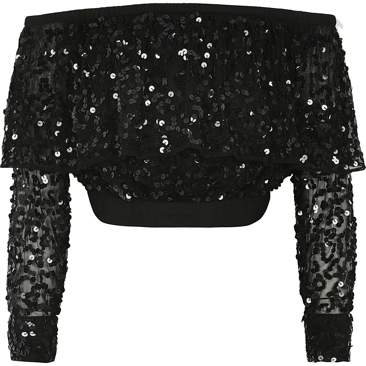 Girls black sequin long sleeve bardot top