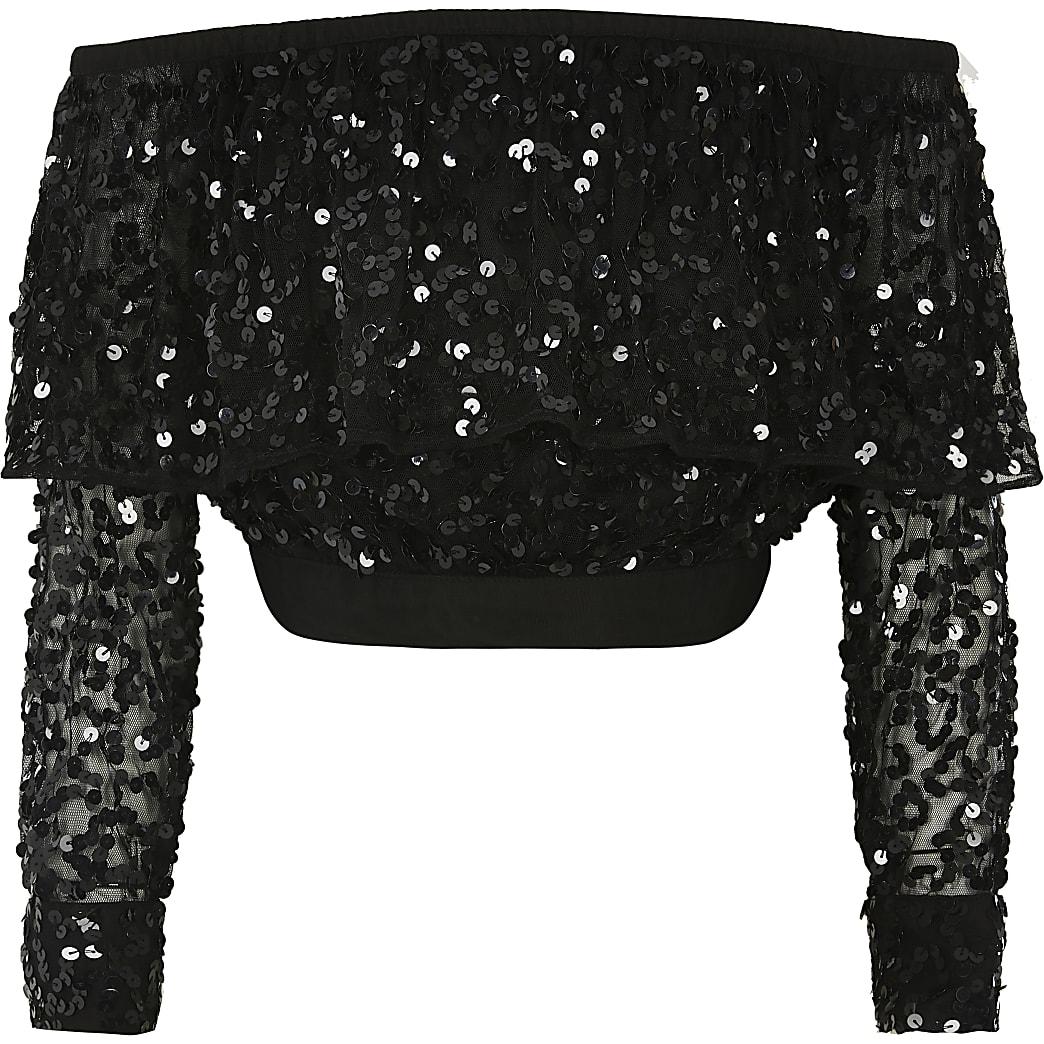 Girls black sequin long sleeve bardot top