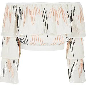 Witte cropped bardottop met kraaltjes voor meisjes