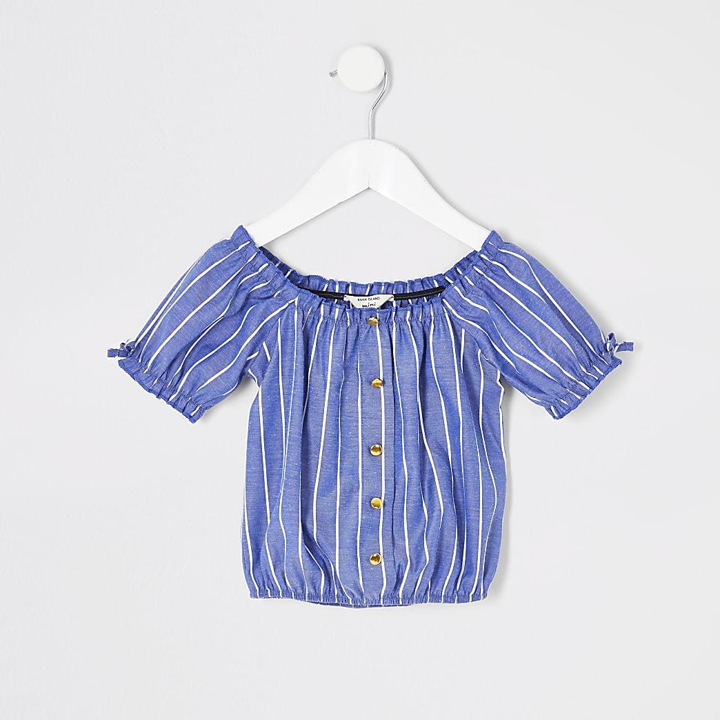 Top Bardot rayé bleu pour mini fille