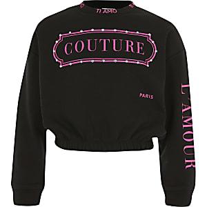 """Schwarzes, langärmeliges Sweatshirt """"Couture"""" für Mädchen"""
