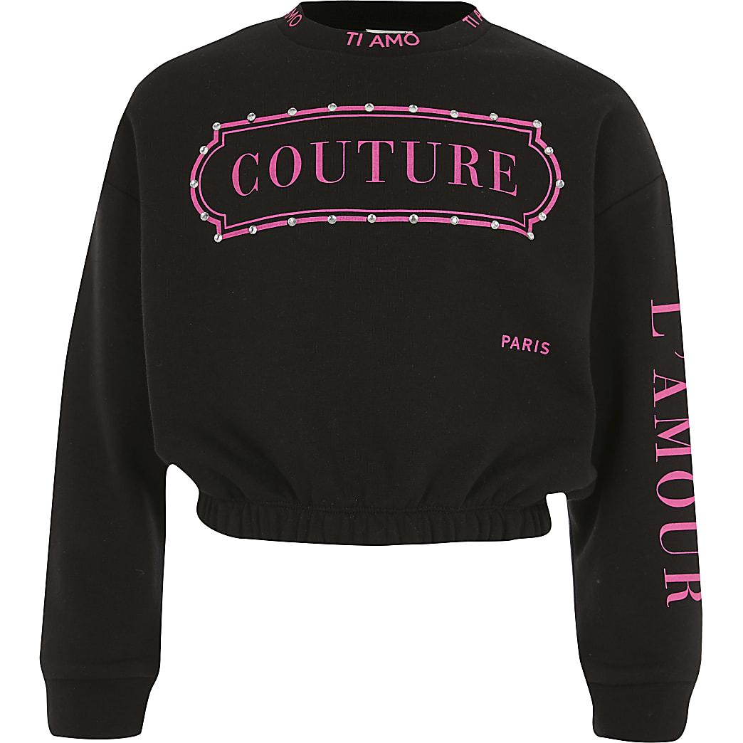 Girls black 'Couture' long sleeve sweatshirt