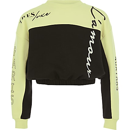 Girls lime colour block sweatshirt
