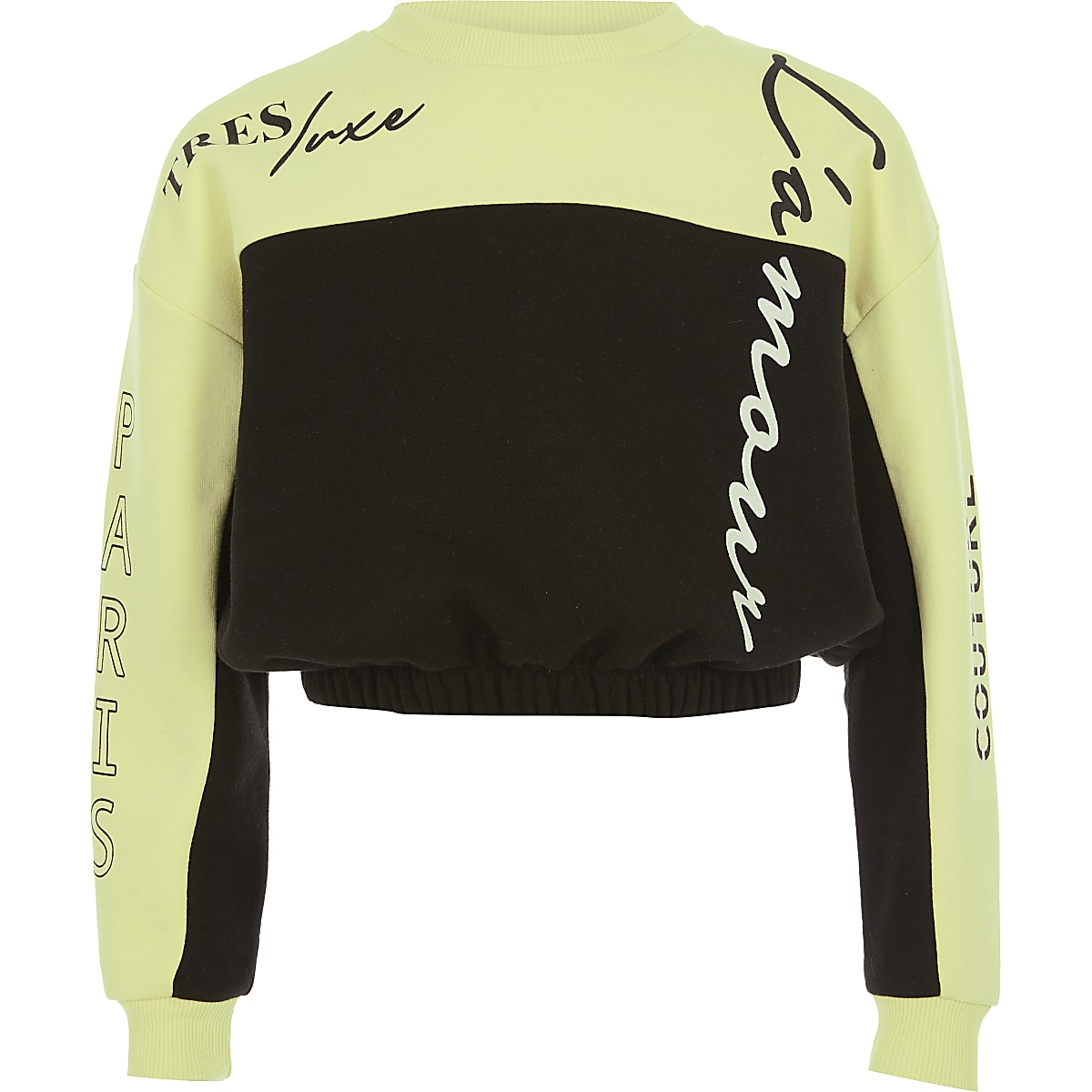 Girls lime colour block sweatshirt