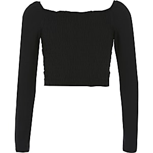 Girls black ruched bardot top