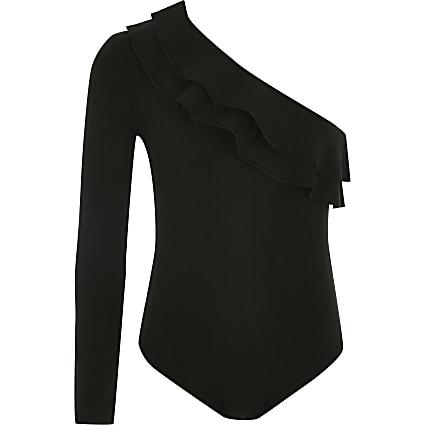 Girls black asymmetric one sleeve bodysuit