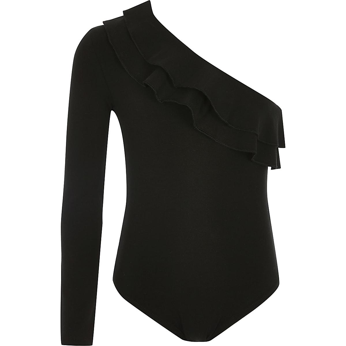 Zwarte asymmetrische bodysuit met een mouw voor meisjes