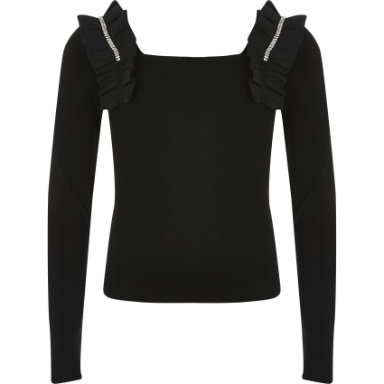 Girls black ruffle square neck cropped top