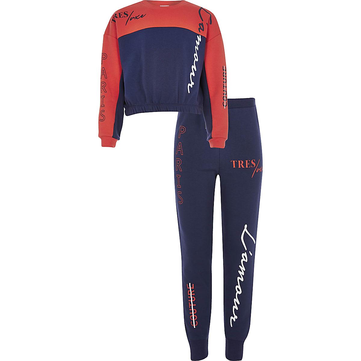 Girls orange colour block jumper outfit