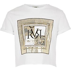 T-shirt blanc à imprimé rectangulaire RVR pour fille