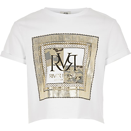 Girls white RVR box print T-shirt