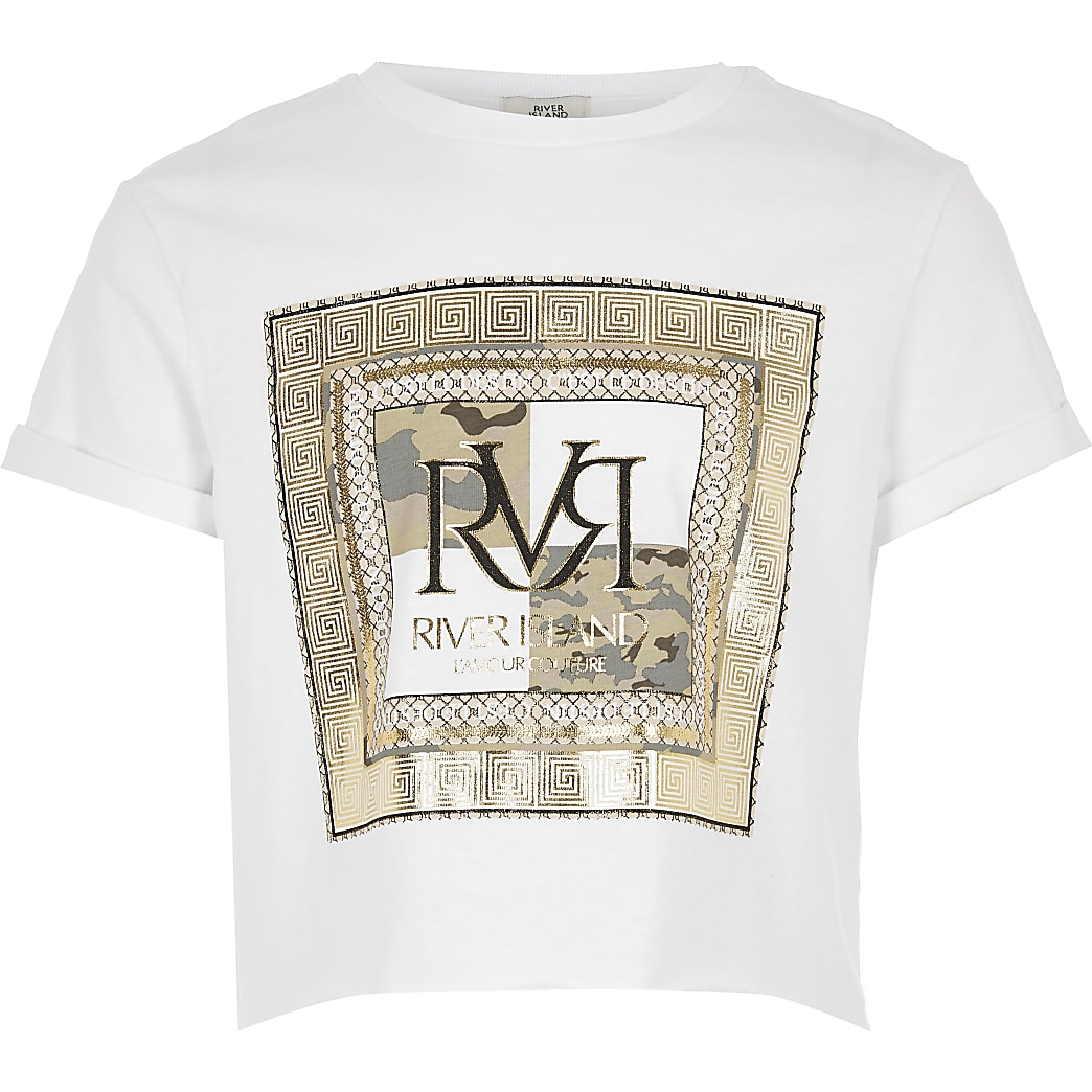 Girls white RVR print cropped T-shirt