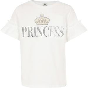 T-shirt met Princess-print en ruches aan de mouwen voor meisjes