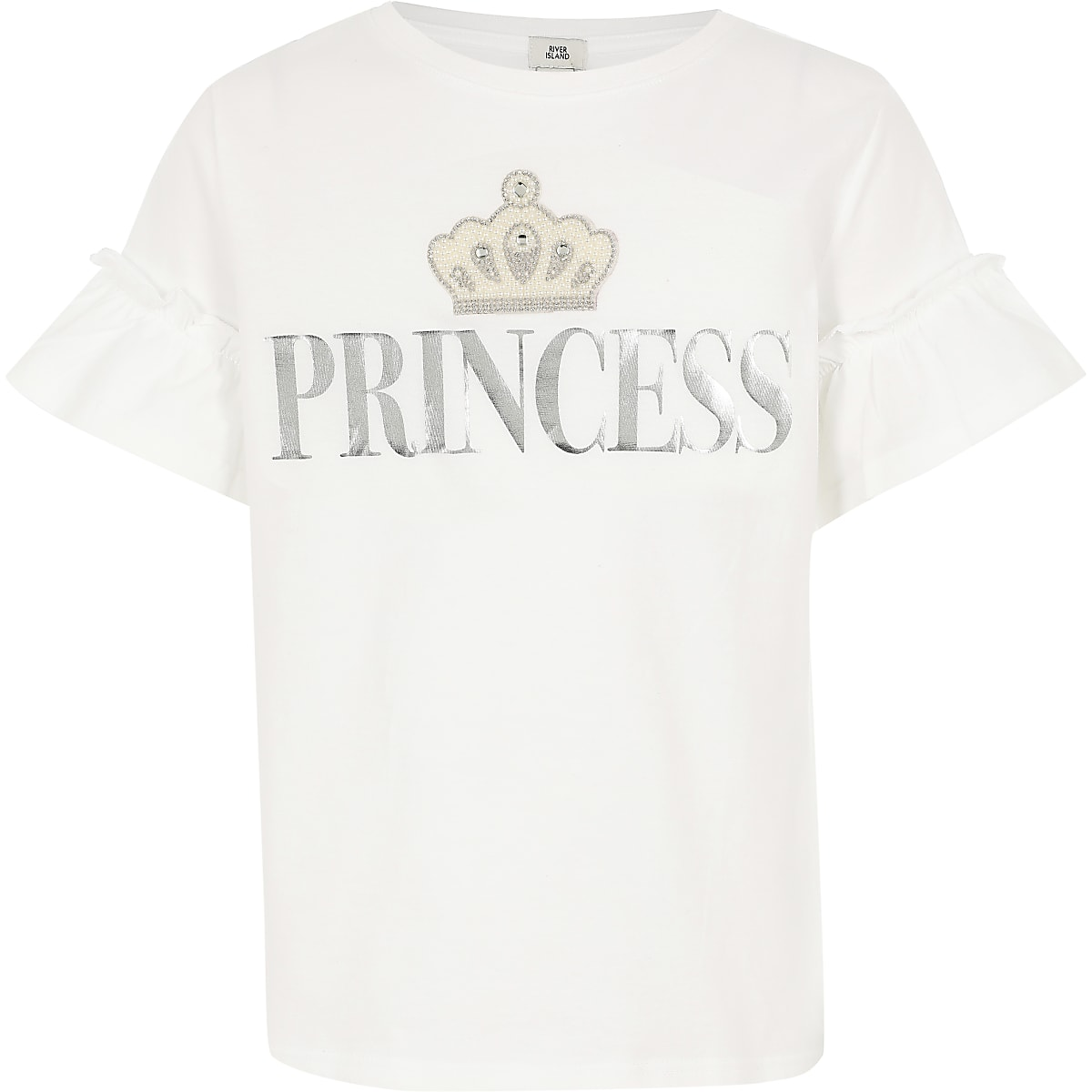 Girls 'Princess' frill sleeve T-shirt