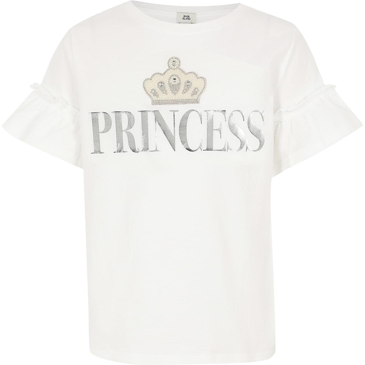 Girls 'Princess' frill sleeve T-shirt