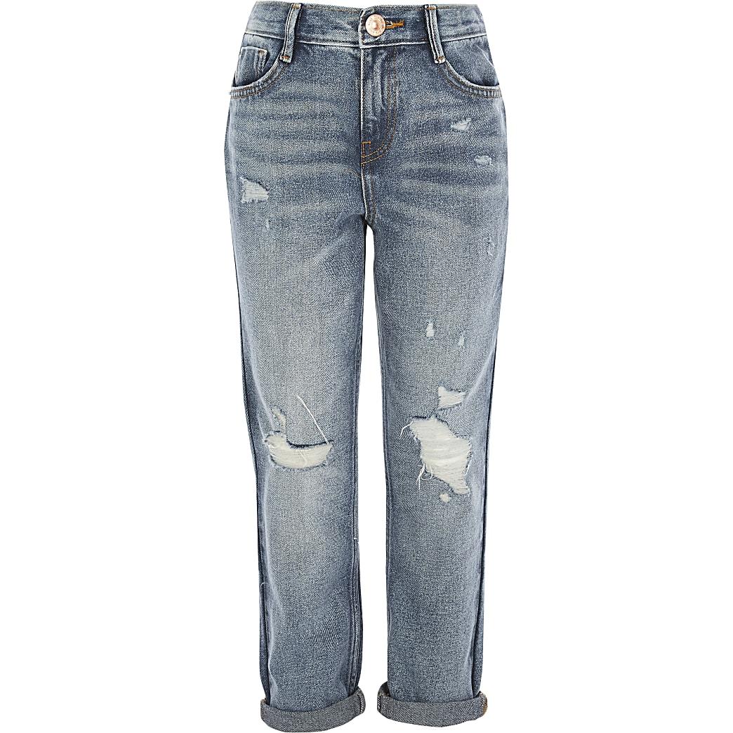 Mom - Blauwe ripped jeans met halfhoge taille voor meisjes