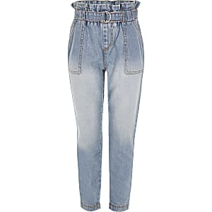 Blauwe jeans met geplooide taille voor meisjes
