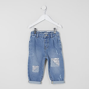 Mini fille – Jean Mom bleu à paillettes