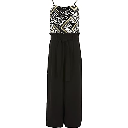Girls black zebra print belted jumpsuit